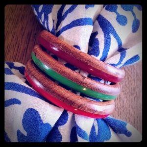 2 tone resin & wood trio vintage bracelets